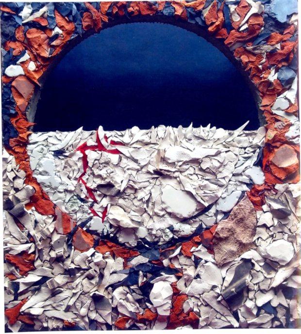Aude Fourier, Soffio di luce, 2016, paste vitree e ceramica su pannello a nido d'ape, cm 60x67, courtesy dell'artista