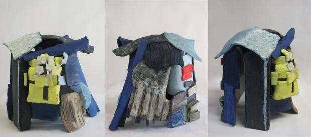 Untitled n1 della serie Territmi semirefra ttario + ossidi e smalto dim.cm38x36x34a
